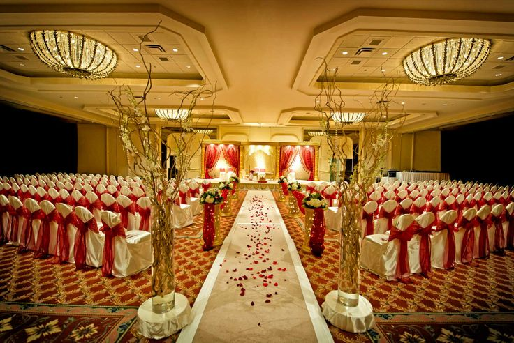 A Banquet Hall Decorated For Wedding Purposes