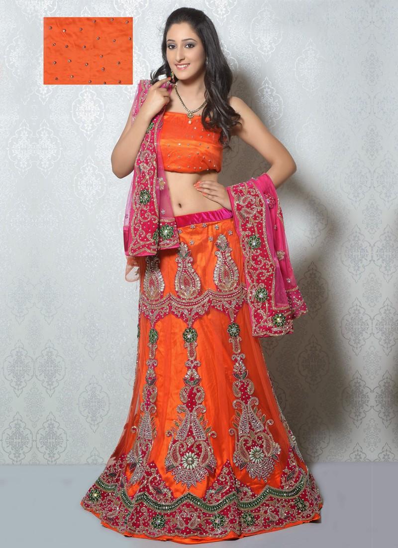 Be Outstanding with Orange Bridal Lehenga